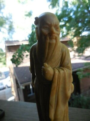 Antique Asian Oriental Chinese Buddha Man Hand Carved Soapstone Figurine