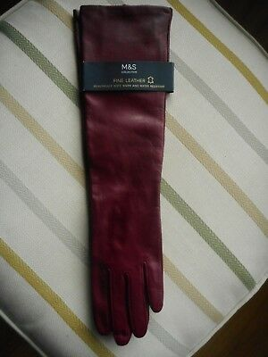 M&S Collection Fine Leather Long Opera Gloves Burgandy Size M/L