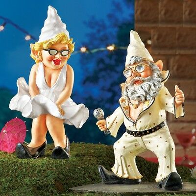 Party Dancing Gnome Couple Garden Yard Statue Lawn Ornament Home Figurines