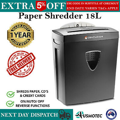 Paper Shredder Electric Cross Cut Credit Card DVD CD Home Office 18L 7 A4 Sheet