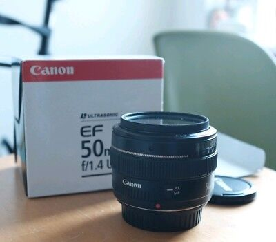 Boxed Canon EF 50 mm F/1.4 EF USM for Canon Black