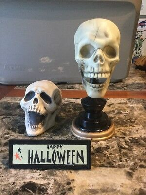 Lot Of Three Halloween Decoration Props Skeletons And Small Happy Halloween Sign