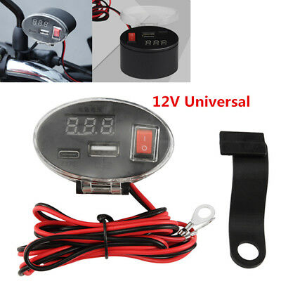 12V display Waterproof USB Motorcycle Handlebar Charger Socket w/ Switch&Mounts
