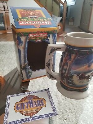"Anheuser Busch Budweiser 2000 Budweiser Holiday Stein ""Holiday in the Mountains"""