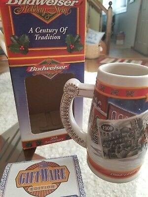 "Anheuser Busch Budweiser ""A Century of Tradition"" 1900-1999 Holiday Stein"