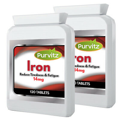 Ferrous Fumarate Iron 240 Tablets 14mg Made In UK Purvitz