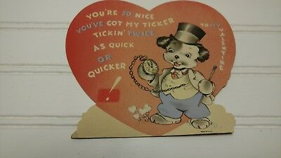 Vintage Large Heart with a Dog Valentine Card-Made in the USA