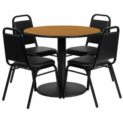 36'' Round Natural Laminate Table Set with 4 Black Trapezoidal Back Banquet