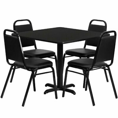 36'' Square Black Laminate Table Set with 4 Black Trapezoidal Back Banquet Chair