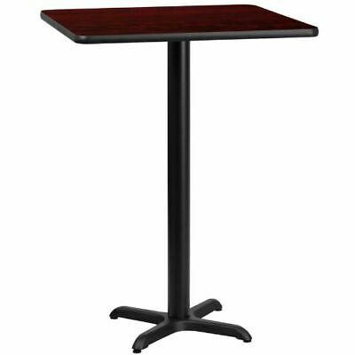 24'' Square Mahogany Laminate Table Top with 22'' x 22'' Bar Height Table Base F