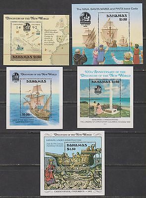 Bahamas - 1988/92 Discovery of New World Souvenir Sheets (5 sheets) mnh
