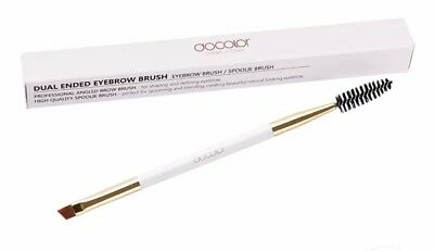 Docolor Professional Angled Dual Ended Brush for Eyebrow and Lash Wooden Handle