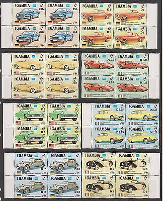 Gambia - 1986 Karl Benz Centenary Cars mnh Set in Blocks of 4 CV $37.60
