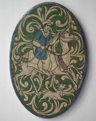 Superb Antique Persian Qajar Dynasty Islamic Ceramic Tile Camel Rider With Spear