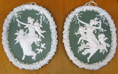 Perfect Plaque x 2 Antique Rudolstadt Volksted or Wedgwood over 110+ years old!!