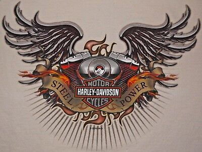 Mens White Harley Davidson Classic STEEL POWER Graphic S/S T Shirt size L USA