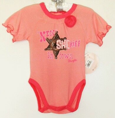 NEW WRANGLER Girls Pink Cowgirl NEW SHERIFF IN TOWN Star Bodysuit Top 18 m