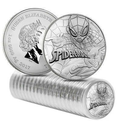 Roll of 20 - 2017 1 oz Tuvalu Spiderman Marvel Series Silver Coin BU In Cap