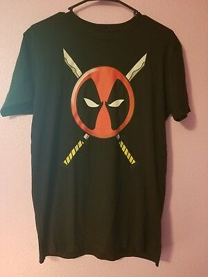 We Love Fine Marvel Deadpool Graphic T-Shirt Black Size M 100% Cotton