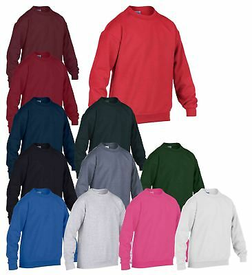 Gildan Plain Kids Boys Girls Childrens School Sweatshirt Jumper Top Fleece