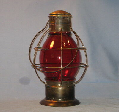 1860's DF Lake & River, Steamboat, or Police Signal Lantern, & Red 7 Inch Globe