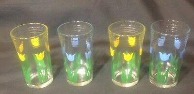 SWANKY SWIGS Vintage Juice Glasses 4PC Tulips Blue And Yellow