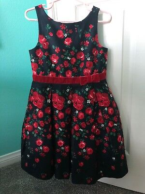 Janie And Jack 4 Girls Christmas Holiday Dress Falling Roses Blue Red Excellent