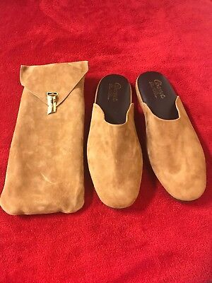 Men's Charvet Tan Suede Slipper Shoes Sz Large Made In Italy NWOB