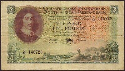 SOUTH  AFRICA  5 Pounds   8.3.1956