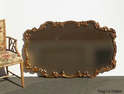 Large Vintage French Provincial Louis XVI Gold Scrolled Wall Mantle Mirror