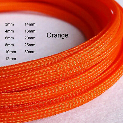 Orange Expandable Braided PET Cable Sleeving 3/4/6/8/10/12/20/35/30mm for PC RC