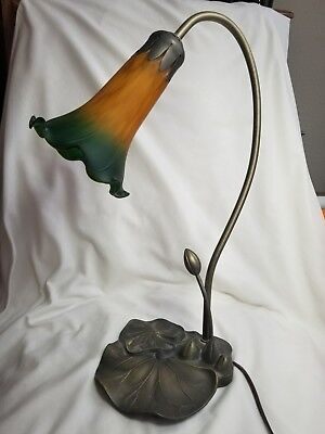 Vtg Tiffany Style Tulip Glass Shade Desk Lamp Lily Pad Goose Neck Art Deco