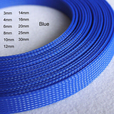 Blue Expandable Braided PET Cable Sleeving High Density PC RC Modding 3mm ~ 30mm