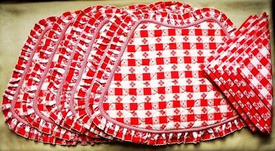 LINEN PLACEMATS / NAPKINS Set of 6 for ROUND TABLE Red White Gingham - VTG 1990s
