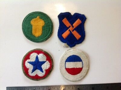 Lot of 4 Original WW2 US  Army Patches 89 Acorn XII Corps Army Service