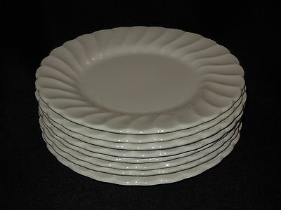 "Set of 8 SALEM China SWIRL WHITE Pattern 6 1/4"" Bread & Butter Plates Unmarked"