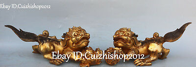 Unique Old Bronze Gilt Feng Shui Foo Fu Dog Guardian Lion Beast Ball Statue Pair