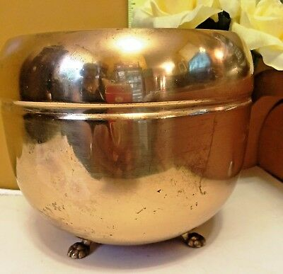 "Vintage Brass Planter Plant Pot with 3 Lion Feet / Paw Antique Old Round 5"" x 5"""