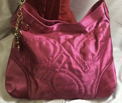 Large Bebe Satin Hot Pink hobo bag W/Weaved  Satin Strap & Chain-Drop Metal Logo
