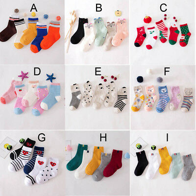 5 Pairs/Set Cute Baby Boy Girl Cartoon Socks NewBorn Infant Toddler Soft Socks
