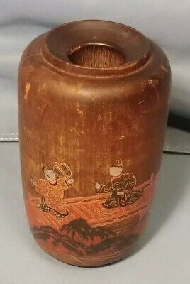 Antique - Vintage, Asian, Chinese or Japanese, wood, Bud Vase, Hand Painted!