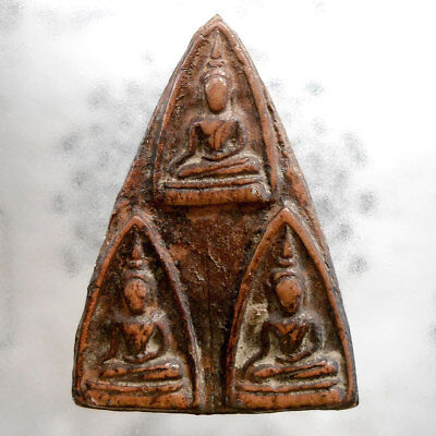 Genuine Triple Buddha Thai Amulet Talismans Life Protect Wealth Lucky Rich Money