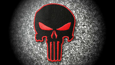 Skull,The Punisher,Patch,Aufnäher,Aufbügler,Badge,Iron On,Badge,Rot