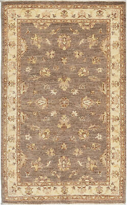 Traditional Hand Knotted Oriental Chobi Area Rug Grey/Beige Persian Rugs (3 x 5)