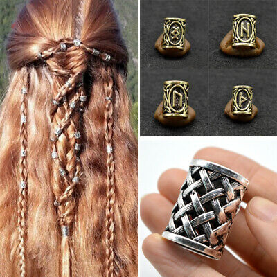 Retro Magic Symbol Runes Beard Jewelry Celtic Knot Hair Beads Norse Viking New