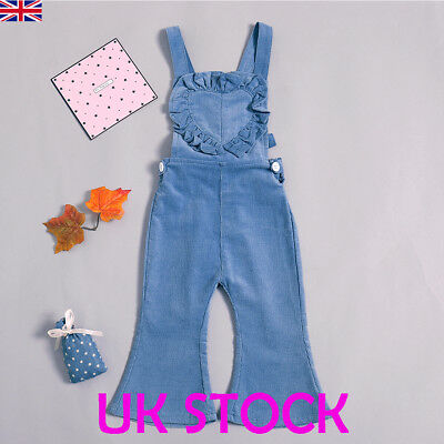 UK Kids Girls Heart Denim Blue Romper Jumpsuit Playsuit Clothes Outfits Age 1-6Y