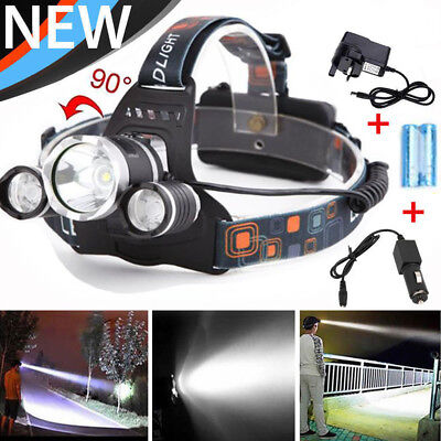 12000 LM Lumens 3 x XML CREE T6 LED Rechargeable Head Torch Headlamp Lamp Light