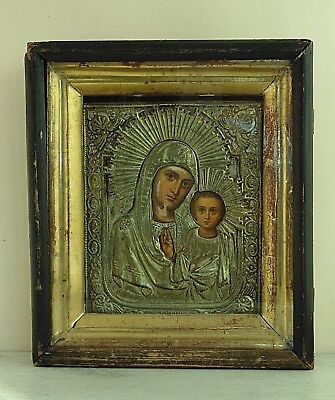 Antique 19th  Russian Hand Painted Wooden Icon Mother of God kiot. Kazan