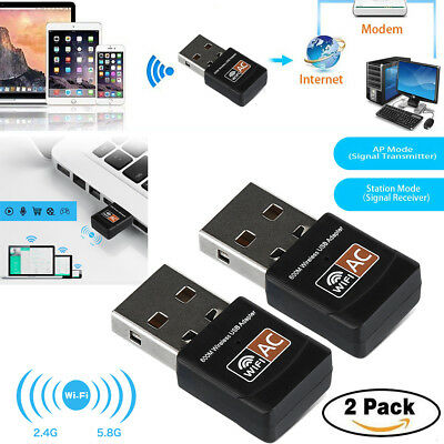 2xAC 600Mbps WLAN Stick dual band 2.4GHz / 5GHz WIFI Dongle USB Wireless Adapter