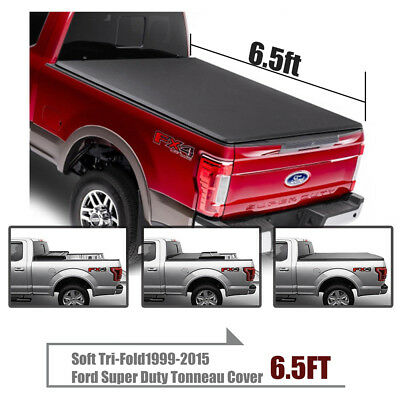 Soft Tri-Fold Tonneau Cover Fit For 1999-2015 Ford Super Duty Truck 6.5' Bed